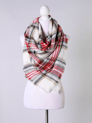 Snuggle Up Red/Black Blanket Scarf