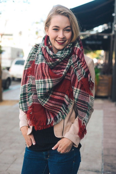 Snuggle Up Red/Green Blanket Scarf