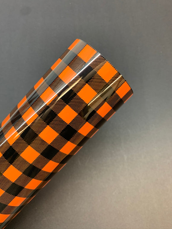 Buffalo Plaid HTV - Black/Orange