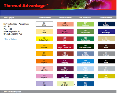 "FDC 9000 Thermal Advantage Solid Colors ---- 12"" x 15"" Sheet"