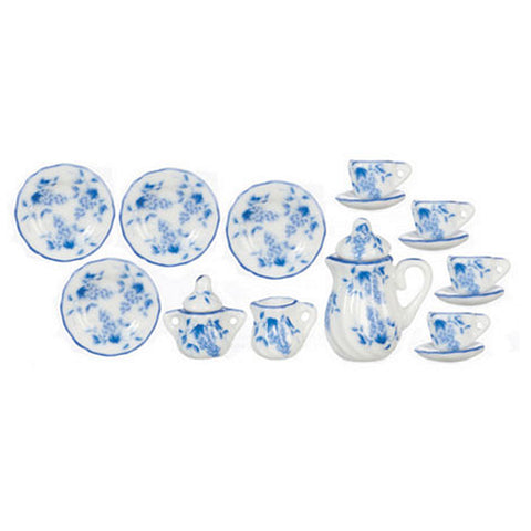 CHINA SET 17 PIECE BLUE FLORAL