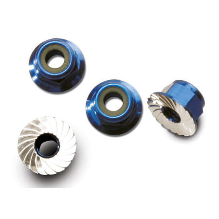 TRAXXAS 4MM BLUE NUTS FLANGED