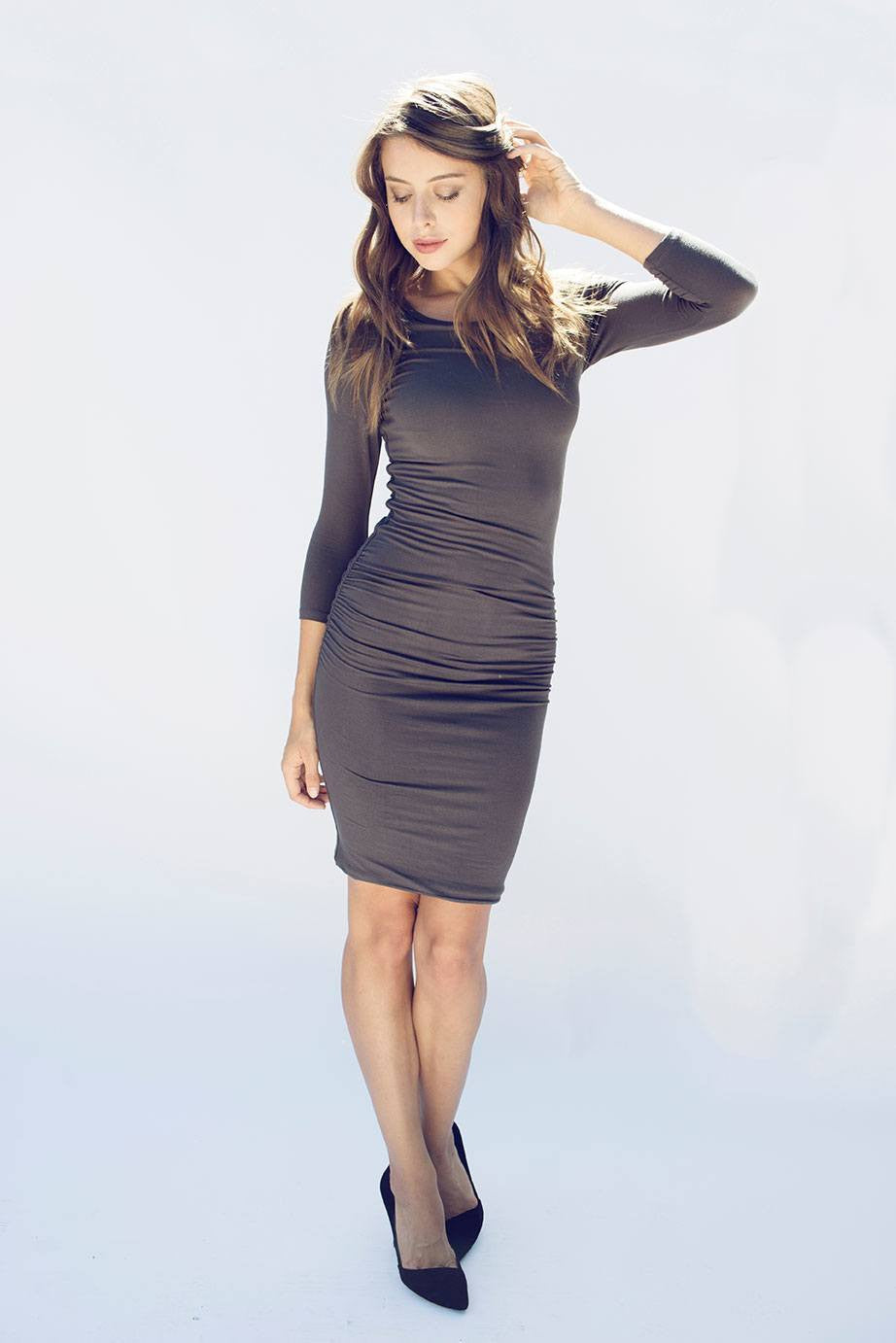 You Look GREAT in this 3/4 Sleeve Ruched Dress