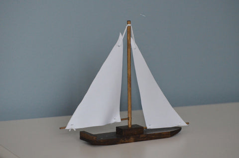 Single Wooden Sailboat with Fabric Sails - Flutter Bunny Boutique, LLC  - 1