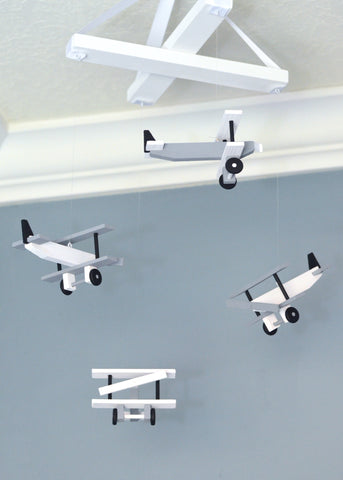 Airplane Nursery Mobile Nursery Decor - White Gray Black