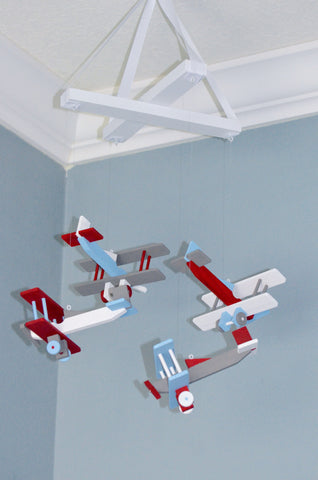 BiPlane Baby Mobile - Airplane Nursery - Baby Blue White Gray Red - Flutter Bunny Boutique, LLC  - 4
