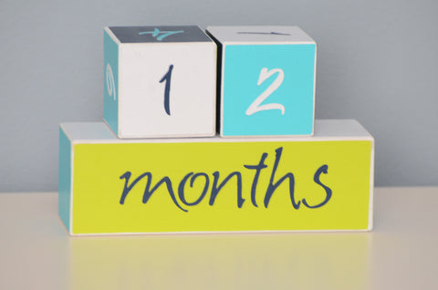 Baby Age Blocks Photo Blocks - Navy White Citron and Turquoise - Flutter Bunny Boutique, LLC  - 1