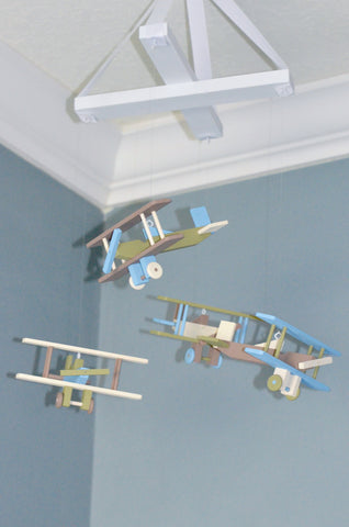 BiPlane Airplane Baby Mobile - Let's Fly Away - Brown Blue Green and Ivory - Flutter Bunny Boutique, LLC  - 1
