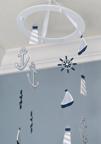 Nautical Baby Mobile -Sailboat Anchor Wheel Lighthouse - Navy White Gray - Flutter Bunny Boutique, LLC  - 1