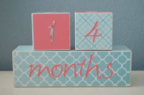 Baby Age Blocks Photo Blocks - Coral and Teal - Flutter Bunny Boutique, LLC  - 1