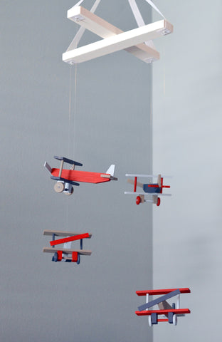 Airplane Nursery Mobile Nursery Decor - Biplanes Navy Gray Red Winter Blue
