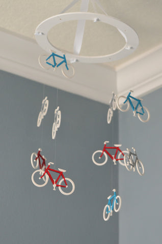 Bicycle Nursery Mobile - Red Turquoise Grey - Flutter Bunny Boutique, LLC  - 1