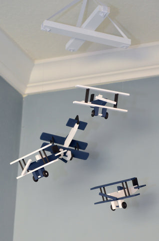 BiPlane Airplane Baby Mobile - Let's Fly Away - Navy White Black - Flutter Bunny Boutique, LLC  - 2