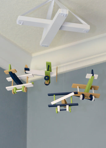 Airplane Baby Mobile Nursery Decor - Navy White Tan Green - Flutter Bunny Boutique, LLC  - 1
