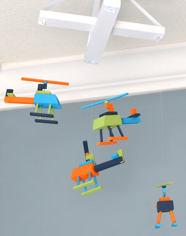 Helicopter Nursery Mobile - Navy Orange Green and Turquoise - Flutter Bunny Boutique, LLC  - 1