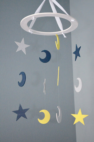Stars and Moons Nursery Mobile - Navy Yellow and Gray - Flutter Bunny Boutique, LLC  - 3