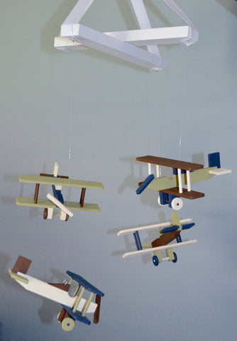 BiPlane Airplane Baby Mobile - Let's Fly Away - Brown Green Navy and Ivory - Flutter Bunny Boutique, LLC  - 1