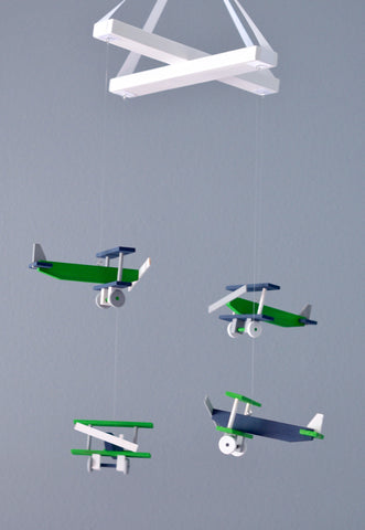 Airplane Baby Mobile Wood Green Navy White Gray