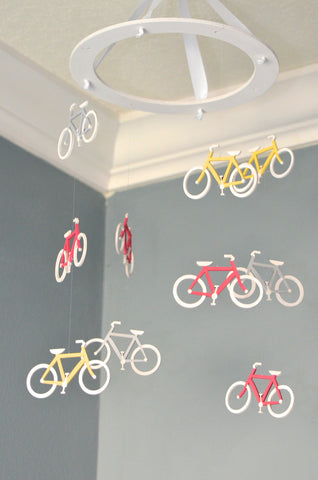 Bicycle Nursery Mobile - Pink Grey Yellow - Flutter Bunny Boutique, LLC  - 1