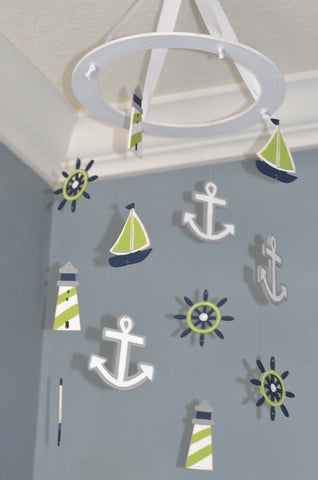Nautical Baby Mobile - Sailboat Anchor Wheel Lighthouse - Navy White Lime Green - Flutter Bunny Boutique, LLC  - 1