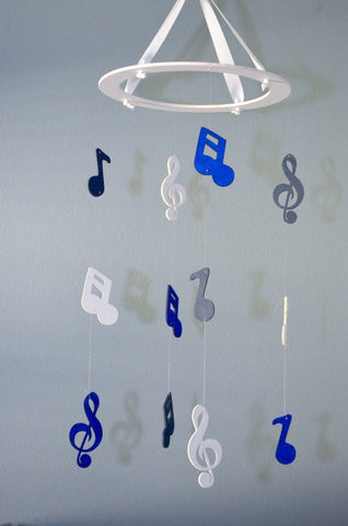 Musical Nursery Mobile - Music Notes - Navy Blue, Royal Blue and White