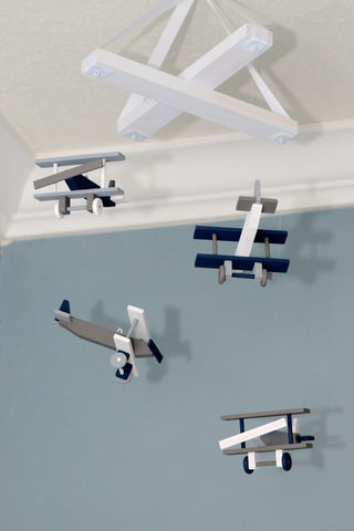 Airplane Nursery Mobile Nursery Decor - Biplane Nursery - Navy White Gray - Flutter Bunny Boutique, LLC  - 1