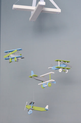 Airplane Baby Mobile Biplane Nursery Decor -  Gray Baby Blue White Lime Green