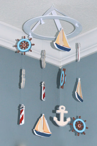 Nautical Baby Mobile - Sailboat Anchor Wheel Lighthouse - Flutter Bunny Boutique, LLC