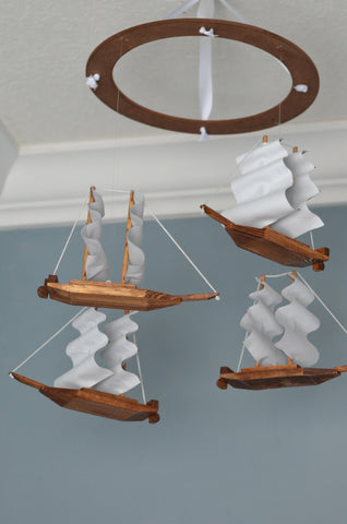 Pirate Nursery Mobile - Sailboat Nautical Nursery Decor - Flutter Bunny Boutique, LLC  - 1