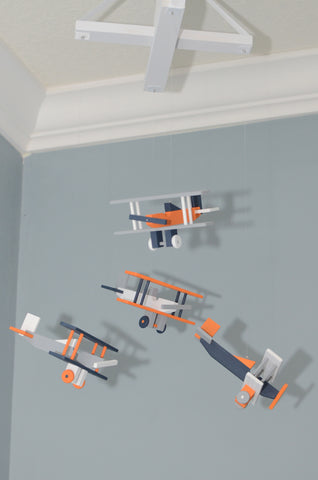 BiPlane Airplane Baby Mobile - Let's Fly Away - Navy White Gray Orange - Flutter Bunny Boutique, LLC  - 1