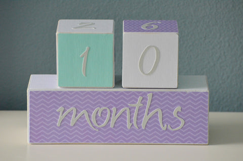 Baby Age Blocks Photo Blocks - Aqua Grey White and Purple - Flutter Bunny Boutique, LLC  - 1