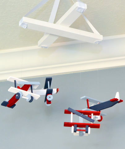 Airplane Nursery Mobile Nursery Decor - Biplanes Navy White Red Winter Blue - Flutter Bunny Boutique, LLC  - 4