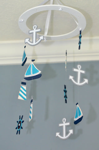 Nautical Baby Mobile -Sailboat Anchor Wheel Lighthouse - Navy White Turquoise - Flutter Bunny Boutique, LLC  - 1