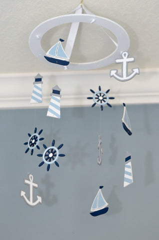 Nautical Baby Mobile -Sailboat Anchor Wheel Lighthouse - Navy White Winter Blue - Flutter Bunny Boutique, LLC  - 1