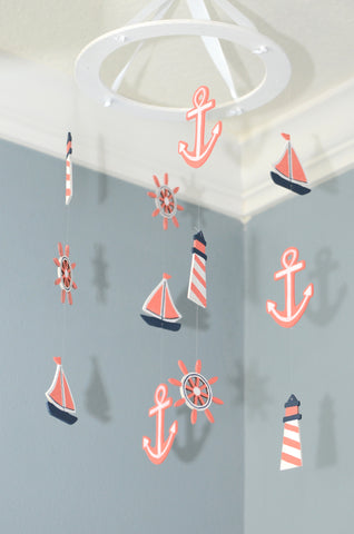 Nautical Baby Mobile - Sailboat Anchor Wheel Lighthouse - Navy White Coral - Flutter Bunny Boutique, LLC  - 1