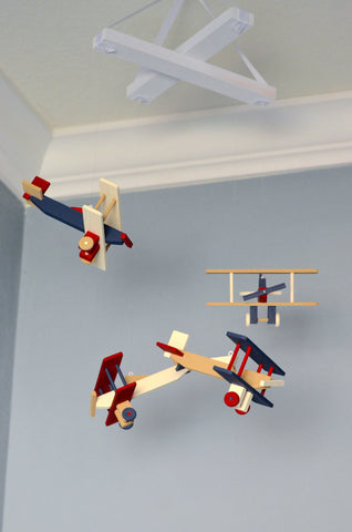 BiPlane Airplane Baby Mobile - Let's Fly Away - Navy Tan Red and Ivory - Flutter Bunny Boutique, LLC  - 1