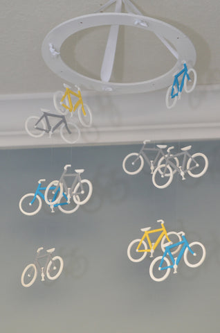 Bicycle Nursery Mobile Bike - Turquoise Yellow Grey - Flutter Bunny Boutique, LLC  - 1