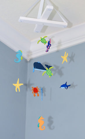 Sea Creatures Nursery Mobile - Sea Animals - Fish Sea Horse Dolphin Crab Whale Sea Turtle Shark - Flutter Bunny Boutique, LLC  - 1