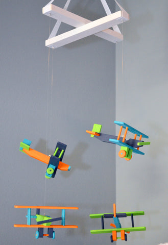 BiPlane Airplane Baby Mobile - Let's Fly Away - Navy Orange Lime Green Turquoise