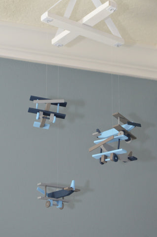 Airplane Baby Mobile Biplane Nursery Decor - Navy Gray Baby Blue - Flutter Bunny Boutique, LLC  - 1