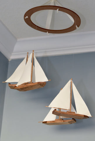 Sailboat Nautical Nursery Mobile - Wood and Fabric - Flutter Bunny Boutique, LLC