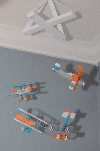 BiPlane Airplane Baby Mobile - Let's Fly Away - White Gray Orange Turquoise - Flutter Bunny Boutique, LLC  - 1