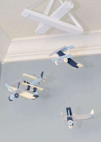 Airplane Nursery Mobile Nursery Decor - Ivory Grey Blue and Navy - Flutter Bunny Boutique, LLC  - 1