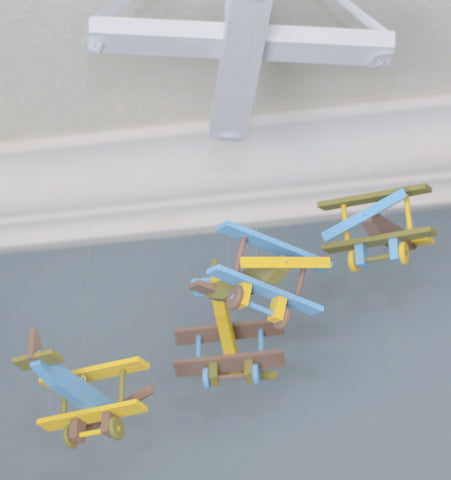 Airplane Nursery Mobile Nursery Decor - Brown Baby Blue Yellow and Green - Flutter Bunny Boutique, LLC  - 3