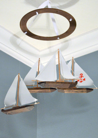 Sailboat Nautical Nursery Mobile - Wood Fabric and Anchor - Flutter Bunny Boutique, LLC  - 1