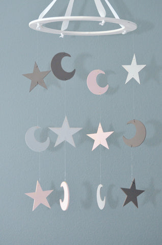 Stars and Moons Nursery Mobile - Pink and Gray - Flutter Bunny Boutique, LLC  - 1