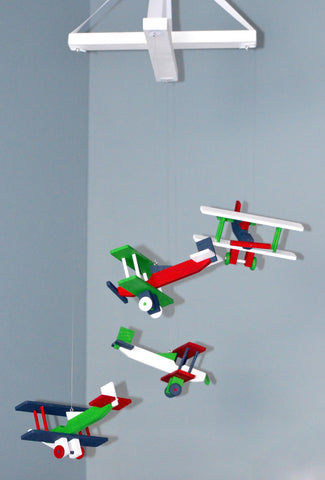 BiPlane Airplane Baby Mobile - Let's Fly Away - Navy Red Green and White