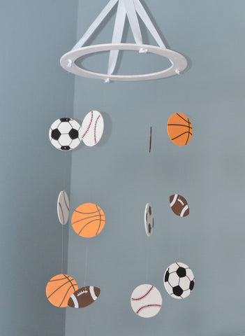 Sports Baby Mobile - Lil' Champ - Flutter Bunny Boutique, LLC  - 1