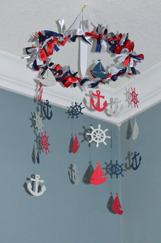 Nautical Nursery Mobile - Sailboat Anchor Wheel - Red Navy Blue Gray - Flutter Bunny Boutique, LLC  - 1