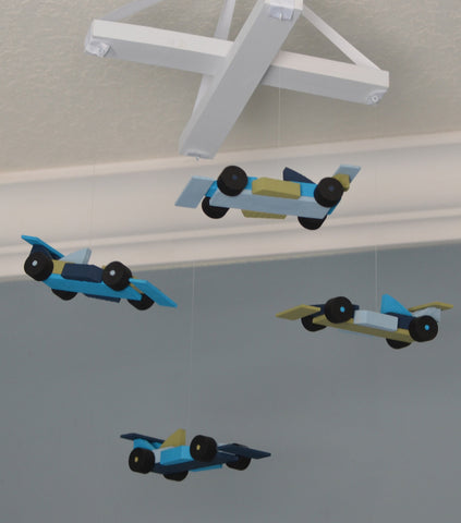 Race Car Nursery Mobile - Race Cars - Turquoise Green Blue and Navy - Flutter Bunny Boutique, LLC  - 1